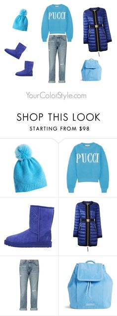 """""""How To Wear Soft Deep Sky Blue With Royal Blue"""" by jen-thoden ❤ liked on Polyvore featuring Calypso St. Barth, Emilio Pucci, Versace, Current/Elliott and Vera Bradley"""