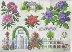 Cross-stitch Garden... no color chart available, just use pattern chart as your color guide.