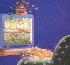Анимация Полосатый кот у телевизора с чашечкой Китикета видя на экране стаю собак, бегущих него, подпрыгивает в ужасе, гифка Полосатый кот у телевизора с чашечкой Китикета видя на экране стаю собак, бегущих него, подпрыгивает в ужасе