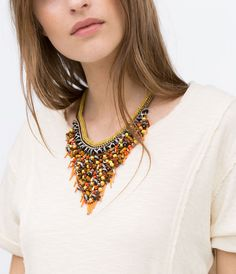 ZARA - WOMAN - Chains and coloured stones necklace