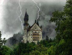 Neuschwanstein Castle, Germany, + lightning