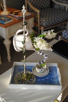 """Floral arrangement I created for my Garden Club's show theme: """"Time for Tea""""  Arrangement & photo by Kathy Wirtala"""