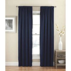 Eclipse Solid Thermapanel Room-Darkening Curtains, Blue