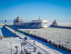 Duluth Harbor Images | Duluth Harbor Cam: American Spirit Duluth Arrival 1/2/2014