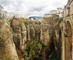 Picture of Amazing view of the Ronda canyon and the famous white village in Province of Malaga, Andalusia, Spain stock photo, images and stock photography. Oh The Places You'll Go, Places To Travel, Beautiful Places In Spain, Ronda Spain, Spain Holidays, Destinations, Cinque Terre, Spain Travel, Photos