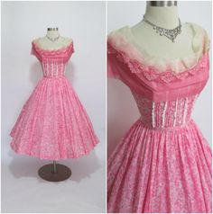 """Jerry Gilden 1950's Vintage Pink Cotton New Look Party Dress 26"""" Waist by RubyFayesVintage on Etsy https://www.etsy.com/listing/212022312/jerry-gilden-1950s-vintage-pink-cotton"""