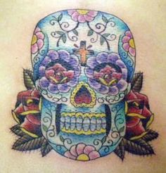 A feminine sugar skull Feminine Skull Tattoos, Skull Rose Tattoos, Hot Tattoos, Flower Tattoos, Body Art Tattoos, Tattoo Art, Day Of The Dead Skull Tattoo, Arm Tats, Skull Tattoo Design