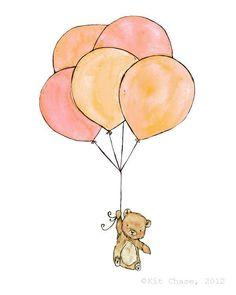 Bear Balloons -- 8x10 Archival Print -- Children's Art. $20.00, via Etsy.