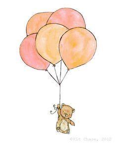Bear Balloons -- 8x10 Archival Print -- Children's Art. $20.00, via Etsy.