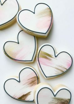 Heart Shaped Valentines Day Cookies Perfect For Your Love Pink Cookies, Cute Cookies, Sugar Cookies, Royal Icing Sugar, Royal Icing Cookies, Heart Shaped Cookies, Heart Cookies, Sweets Images, Cookie Images
