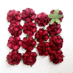 Marsala colored paper flowers for wedding & holiday DIY projects.  Rich, punch of red wine and a beautiful compliment to Peach, Coral, or Ivory flowers!