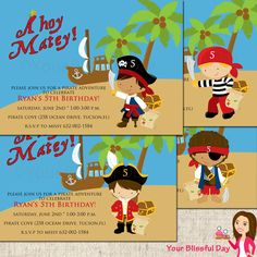 PRINTABLE Boy Pirate Party Invitations by yourblissfulday on Etsy https://www.etsy.com/listing/91102593/printable-boy-pirate-party-invitations