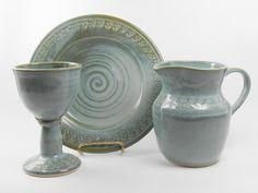 Ceramic communion set pottery communion set by TamarackStoneware Communion Sets, Wine Goblets, Ceramic Art, Blue Green, Porcelain, Pottery, Ceramics Ideas, Glass, Altar