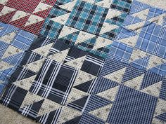 Man Quilt, Boy Quilts, Scrappy Quilts, Quilt Art, Flannel Quilts, Plaid Quilt, Shirt Quilts, Western Quilts, Recycled Shirts