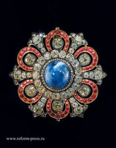 The brooch belonged to The Romanovs since the 18th century - gold, silver, diamonds, and spinels. The biggest spinel was put into He Grand Imperial Crown of Russia. Kept by the Diamond Fund, The Kremlin, Moscow