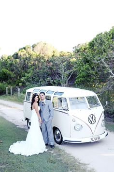 vintage vw bus wedding getaway