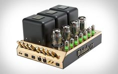 The McIntosh 50th Anniversary MC275 Tube Amplifier ($6,500). Sporting a gold-toned chassis, this limited edition MC275 merges the classic 1961 tube circuit design of the original with modern niceties like a multi-colored LED display, a High Speed Sentry Monitor circuit to automatically turn the amp off should a tube wear out, and Power Control input and output. Coming to an impressive hi-fi setup near you — complete with commemorative book and packaging.