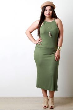 This plus size dress features a ribbed knit fabrication, halter neckline, sleeveless fit, and a strap detail at back. Finished with a maxi-length hemline an. Plus Size Womens Clothing, Plus Size Fashion, Clothes For Women, Plus Size Skirts, Plus Size Maxi Dresses, Halter Maxi Dresses, Satin Dresses, Trendy Bikinis, Casual Elegance