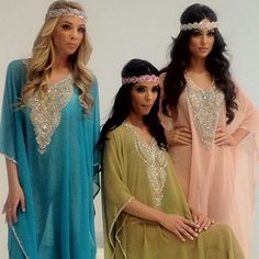 I need one of these beautiful candy colored kaftans! Paired with the jeweled headbands, they are gorgeous