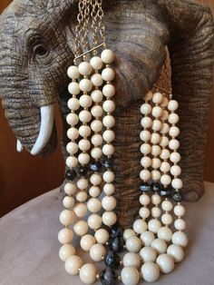 Black and White Bead Multi-Strand Statement Necklace