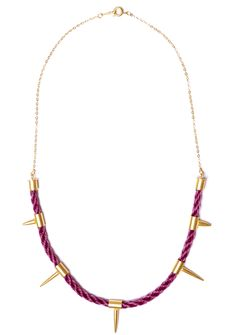 'Dark Unicorn' Woven horsehair spike necklace in wine with 22ct gold plating.    #gold #jewellery #jewelery #neckpiece #necklace #spikes #studs #design #fashion #craft #woven #horse #hair