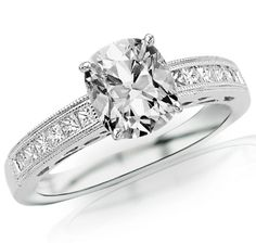 1.23 Carat Cushion Cut / Shape 14K White Gold Channel Set Princess Cut Diamond Engagement Ring ( H-I Color , VS2 Clarity )