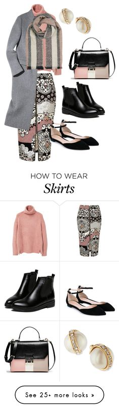 """Red floral print pencil skirt inspiration piece"" by noraparras on Polyvore featuring River Island, MANGO, Gianvito Rossi, WithChic, Kate Spade, women's clothing, women's fashion, women, female and woman"
