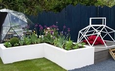Love Your Garden: How to get the modern architectural look love-your-garden-white-raised-beds-allium