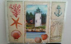 Coastal Placemats Vinyl Lighthouse Seashells Cottage  Set of 2 NEW