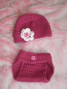 Free Crochet Pattern for Hat and Link to the Diaper Cover
