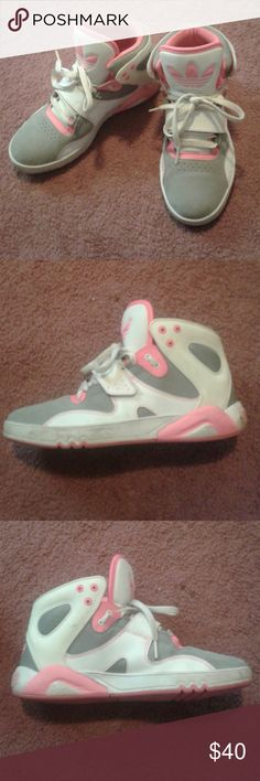 Pink White & Gray Adidas barely worn , great condition , downsizing while moving Adidas Shoes Athletic Shoes