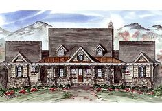 Split Suite Vacation Home Plan - 15786GE   Cottage, Country, Mountain, Vacation, 1st Floor Master Suite, Bonus Room, CAD Available, In-Law Suite, Loft, MBR Sitting Area, PDF, Wrap Around Porch, Sloping Lot   Architectural Designs