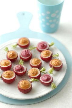 radish with red pepper-yogurt-basil and beetroot-potato-mayonnaise cream