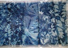 Of shadows and Light - cyanotype on 45 silk panels - 45 cm x 140 cm Natural Form Artists, Natural Forms, Sun Prints, Ceramic Artists, Alternative Photography, Cyanotype, Blue Tones, Indigo, Art Gallery