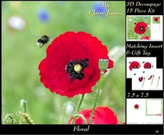 Botanical Floral 1 Bees Love Poppies Insert Tag on Craftsuprint - Add To Basket!