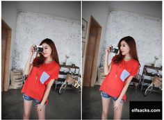 Womens Loose Patchwork V-neck Short Sleeve Red Tshirt