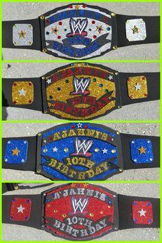 DIY WWE Wrestling Belt Craft Idea - fun for a party! Wrestling Birthday Parties, Wrestling Party, Wwe Birthday, 6th Birthday Parties, 1st Boy Birthday, Wwe Belts For Kids, Diy Wwe, Wwe Party, Farm Animal Birthday