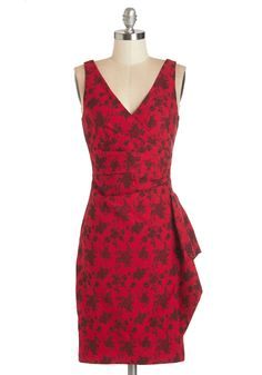 Step Out to the Soiree Dress. Make your appearance at tonights party confidently in this floral sheath dress! #red #modcloth