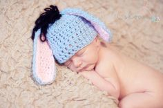 Eeyore Ears! Gasping at the cuteness!!!  Photography Prop Bundle Choose ANY 3 Crochet Hats and Cocoon. $85.00, via Etsy.
