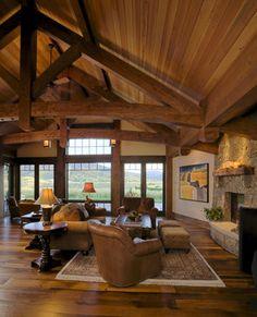 Lake Cabin - traditional - living room - denver - Lynne Barton Bier - Home on the Range Interiors