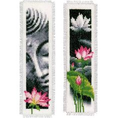 Lotus & Bouddha kits Marque-pages à broder - Vervaco PN-0155652 Diy Bookmarks, Cross Stitch Bookmarks, Mini Cross Stitch, Cross Stitch Flowers, Cross Stitch Kits, Cross Stitch Charts, Cross Stitch Patterns, Loom Beading, Beading Patterns