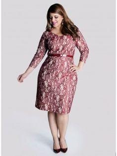 Regina Plus Size Dress in Ruby Argentan Lace