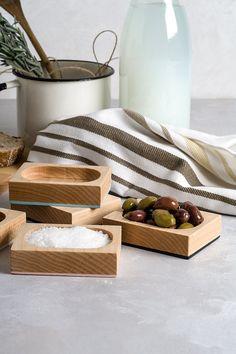 Navy Blue and Wood Salt Cellar Small Maple by loop design studio