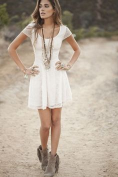 classic white dress with fringe boots