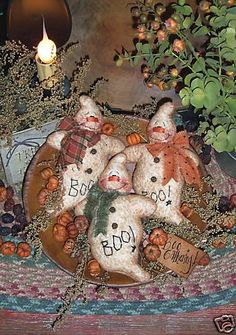 Items similar to Patti's Ratties Primitive Boo Gathering Ghost Ornies Pattern 124 on Etsy Halloween Doll, Halloween Ornaments, Holidays Halloween, Halloween Crafts, Halloween Decorations, Halloween Quilts, Homemade Halloween, Halloween Signs, Halloween Stuff