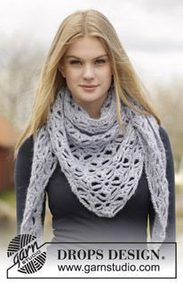 """Frost Flowers - Crochet DROPS shawl with lace pattern in """"Air"""". - Free pattern by DROPS Design"""