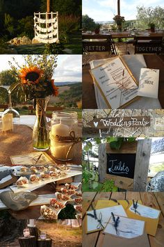 Hand made with love! Tuscan wedding decorations escort cards made with pallets, jars, wood signs, logs, wedding menu and invitation with twine and lavender