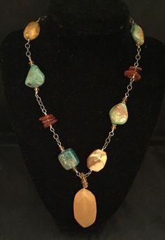 Silpada Southwestern Style Turquoise Amber Jasper Sterling Silver Necklace N1296 #Silpada #Pendant