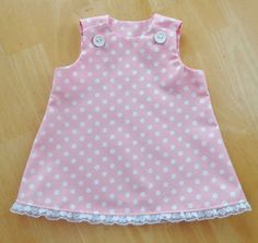 Beautiful Baby Girl Dress 0-3 mo. Handmade Pink White Polka Dot