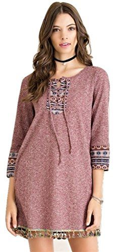 Entro Melange shift dress women aztec tapestry round neck Nonsheer Knit wine L ** Read more  at the image link. (This is an Amazon affiliate link and I receive a commission for the sales and I receive a commission for the sales)